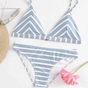 Other - NWT Baby blue striped triangle bikini set👙